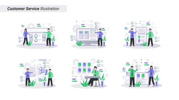 Abbildung kundenservice dient kunden gut und freundlich per telefon und live Premium Vektoren