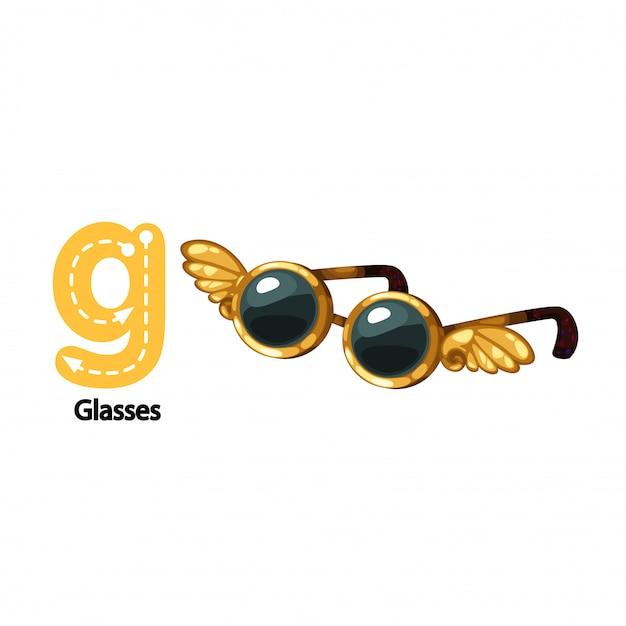 Abbildung lokalisierte alphabet-brief g-gläser Premium Vektoren