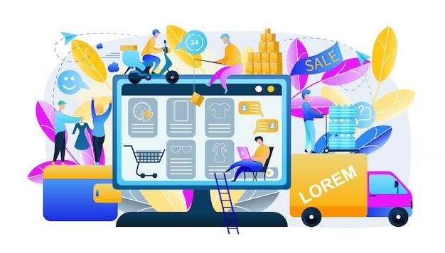 Abbildung mann produziert online-shopping Premium Vektoren