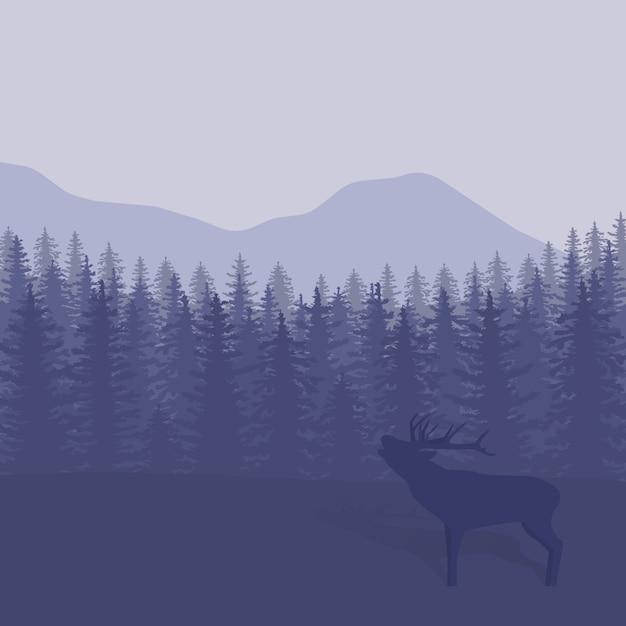 Abbildung mit bäumen und hirsch silhouetten Premium Vektoren