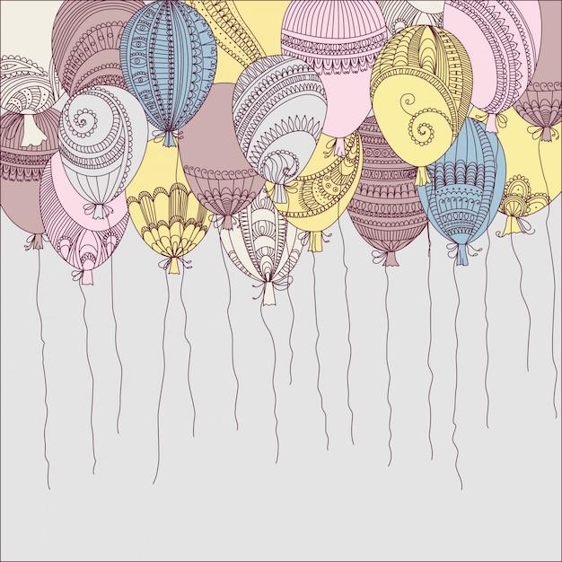 Abbildung mit bunten fliegenballonen Premium Vektoren