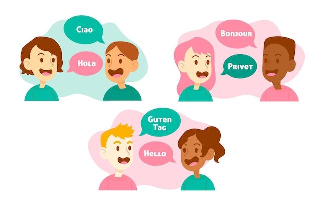 Abbildung mit den leuten, die verschiedene sprachen sprechen Kostenlosen Vektoren
