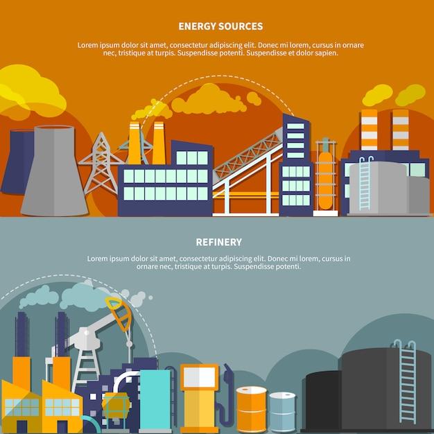 Abbildung mit energiequellen und raffinerie Kostenlosen Vektoren