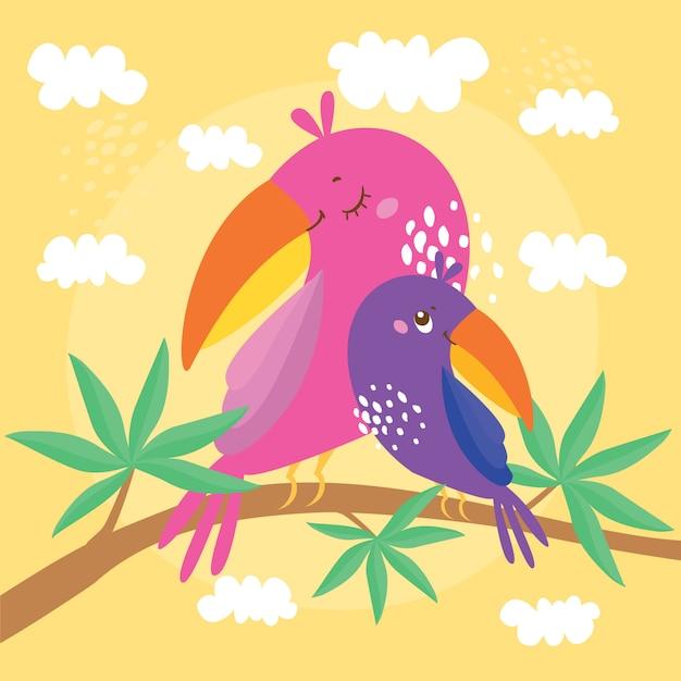 Abbildung mit papageien, mutter und kind sitzen auf einem ast eines exotischen baumes Kostenlosen Vektoren