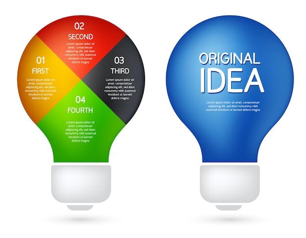 Abbildung mit zwei arten von glühbirnen. flacher stil des infografikdesigns der geschäftsidee Premium Vektoren