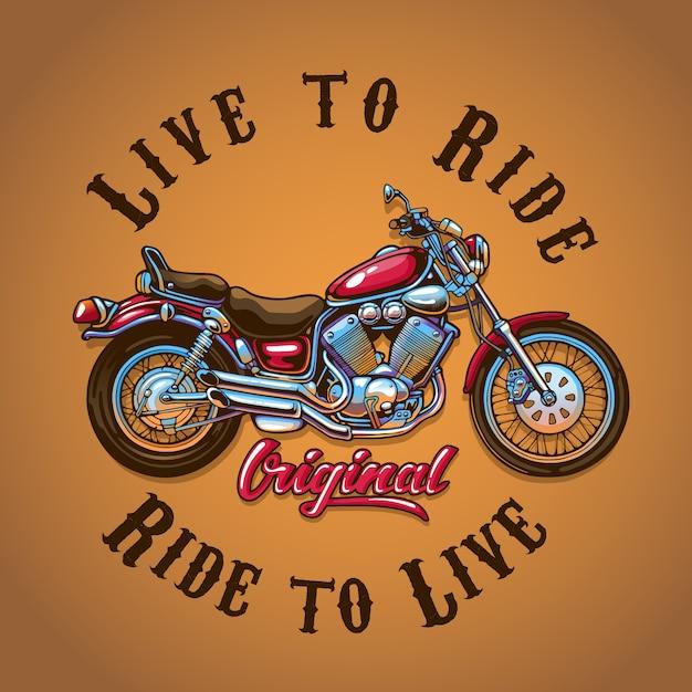 Abbildung motorrad für t-shirt druck Premium Vektoren