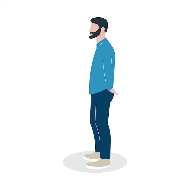 Abbildung person charakter mit menschen kerl arbeit lebensstil Premium Vektoren