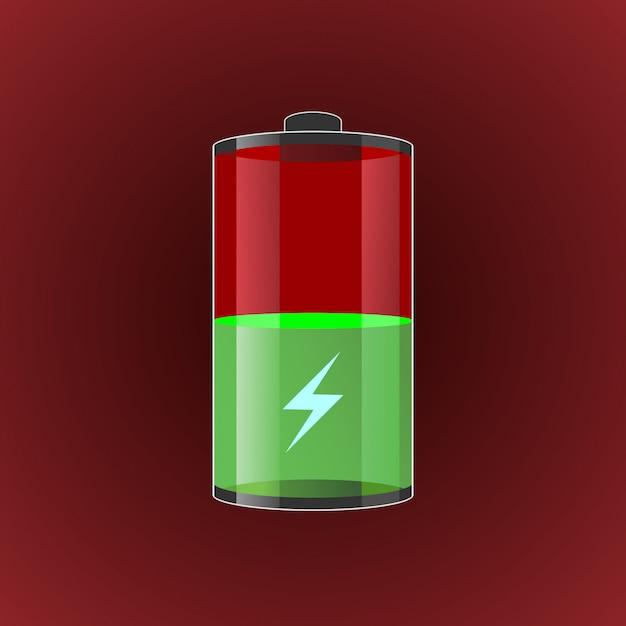 Abbildung transparent geladene batterien. Premium Vektoren