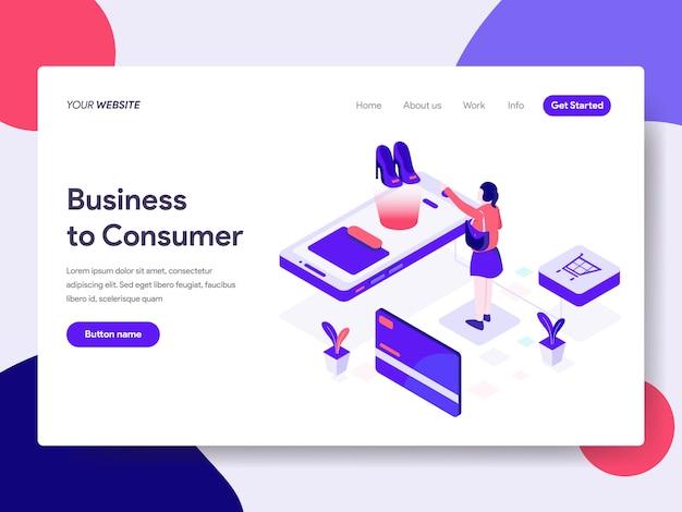 Abbildung von business to consumer für webseiten Premium Vektoren