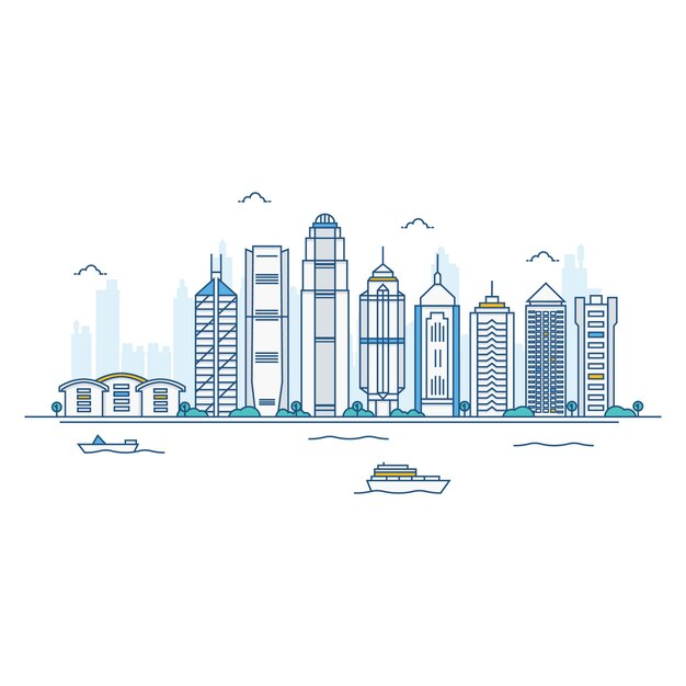 Abbildung von hong kong skyline. Premium Vektoren