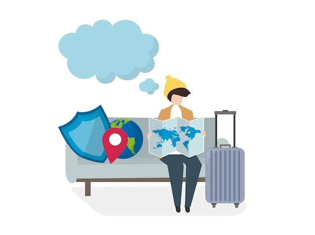 Abbildung von leuten mit reiseversicherung Kostenlosen Vektoren