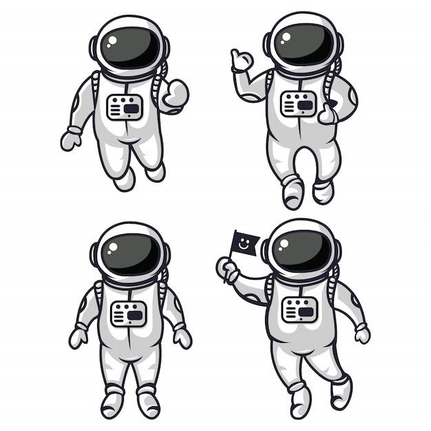 Abbildung von vier netten astronauten Premium Vektoren