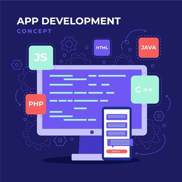Abbildung zur app-entwicklung Premium Vektoren