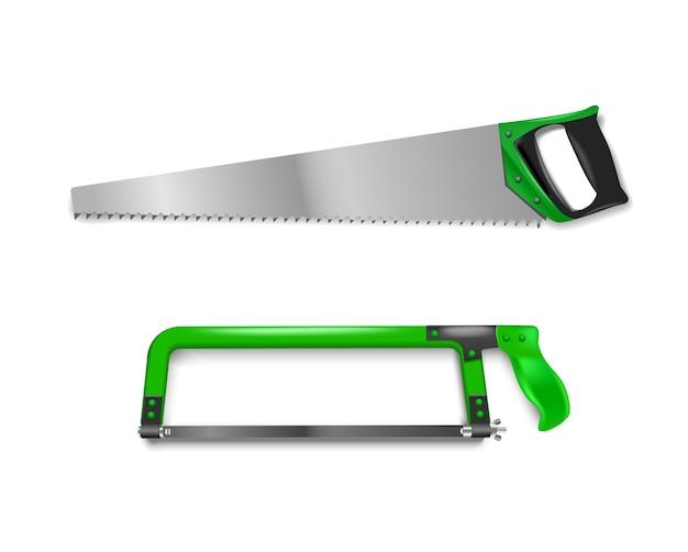 Abbildung zwei handsägen mit grünem griff. handsäge zum schneiden von metall und baum Premium Vektoren