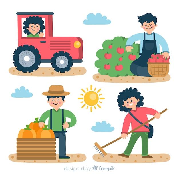 Abbildungen der landwirte arbeiten festgelegt Kostenlosen Vektoren