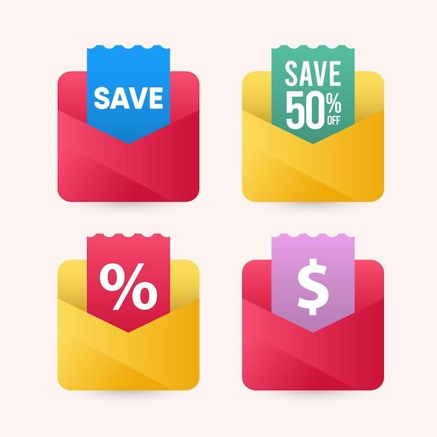 Abbildungen sparen geld mit umschlag design-vorlage. Premium Vektoren