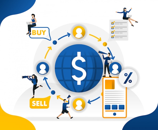 Abbildungen von finanztransaktionen übertragen, senden, verkaufen und kaufen in der welt Premium Vektoren
