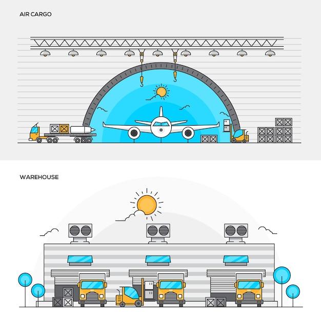 Abbildungen von luftfracht und lager Premium Vektoren