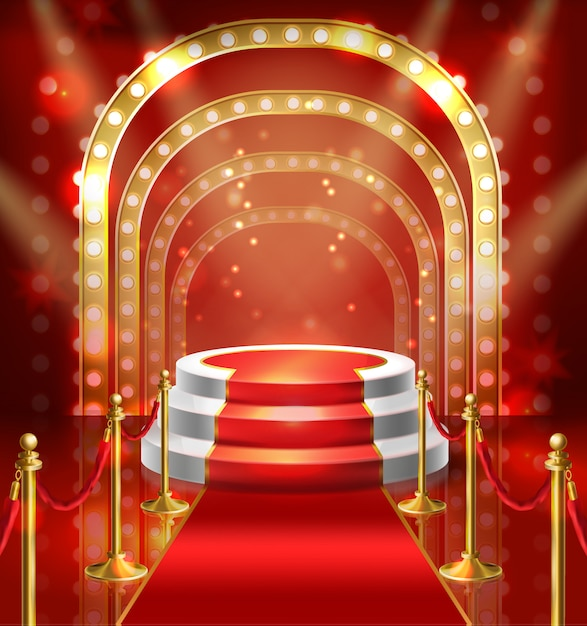 Abbildungspodium für show mit rotem teppich. bühne mit lampenbeleuchtung für den stand Kostenlosen Vektoren
