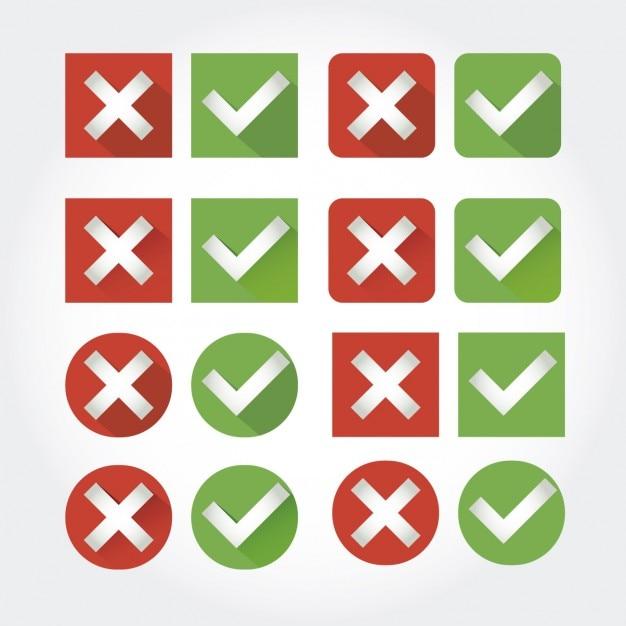 Abbrechen und überprüfen button collection Kostenlosen Vektoren