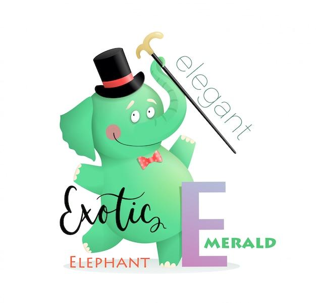 Abc alphabet für kinder elefant für buchstabe e. Premium Vektoren