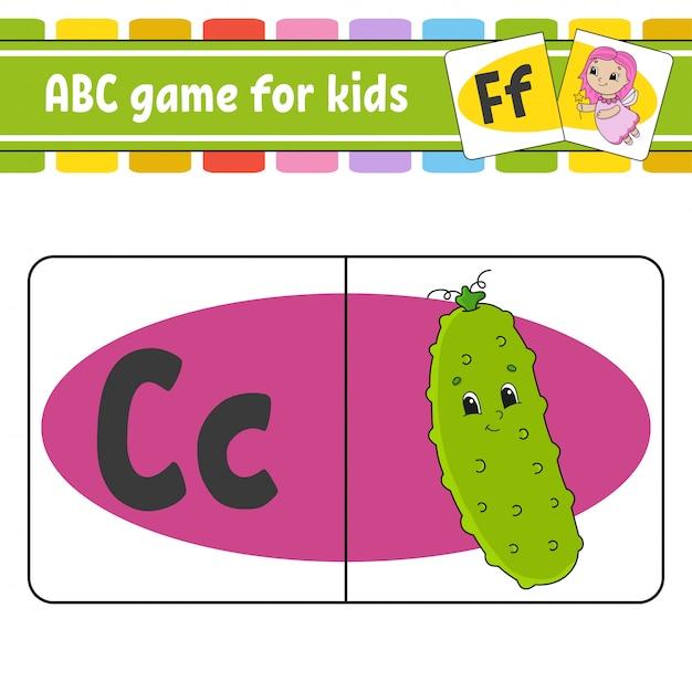 Abc-karteikarten. alphabet für kinder. buchstaben lernen. Premium Vektoren