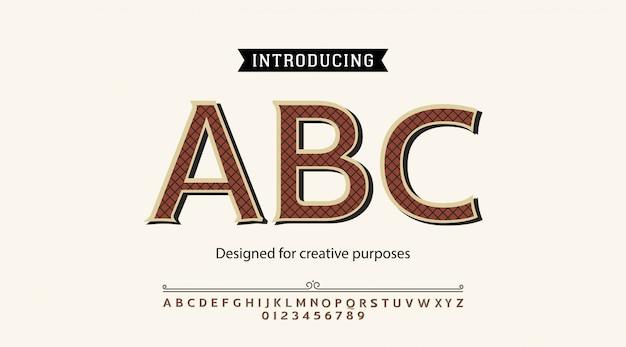 Abc-schrift. für etiketten und verschiedene schriftarten Premium Vektoren
