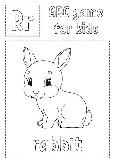 abcspiel für kinder alphabet malvorlagen  premiumvektor