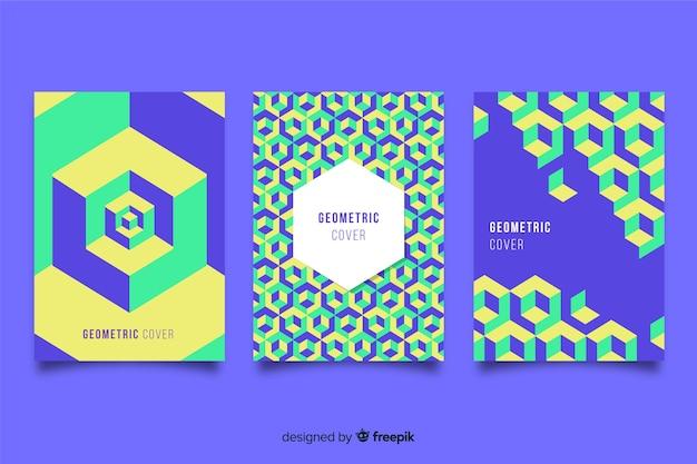 Abdeckungen mit geometrischem design Kostenlosen Vektoren