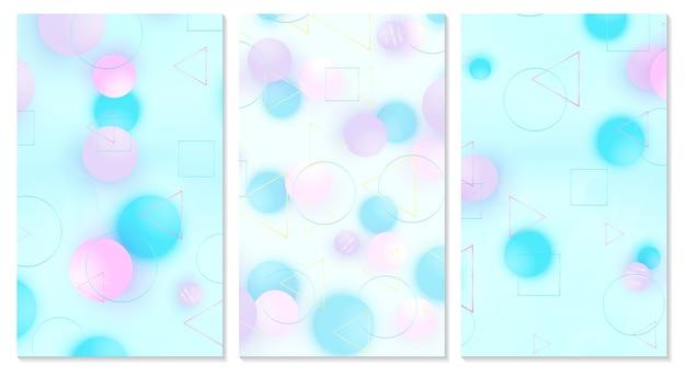 Abdeckungsset. rosa, blaue, violette kugeln. Premium Vektoren
