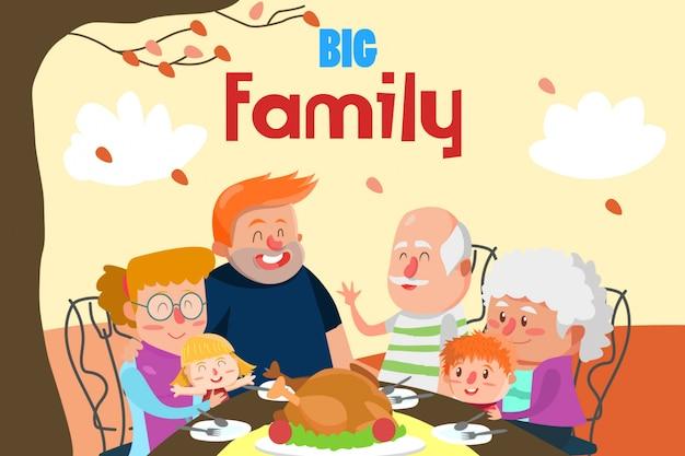 Abendessen mit großer familienillustration Premium Vektoren