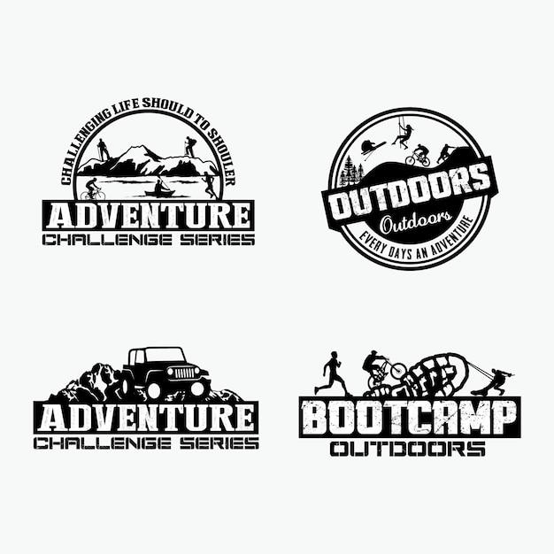 Abenteuer abzeichen und logo Premium Vektoren