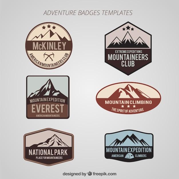 Abenteuer badges set Kostenlosen Vektoren