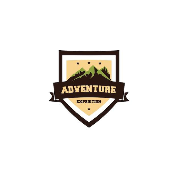Abenteuer expedition vintage logo design Premium Vektoren