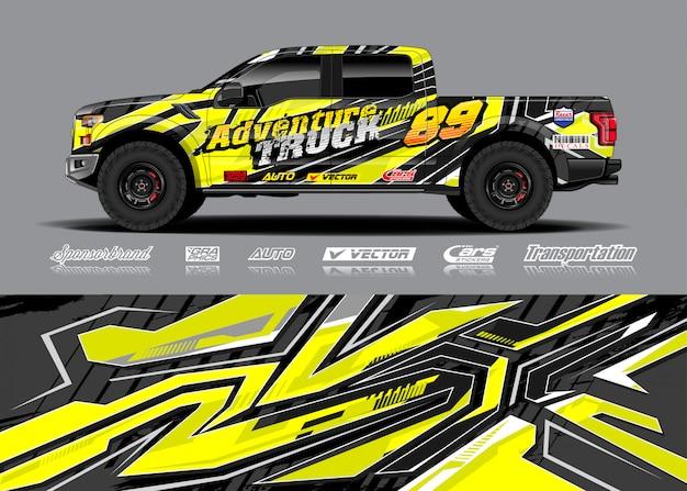 Abenteuer fahrzeug wrap illustration Premium Vektoren