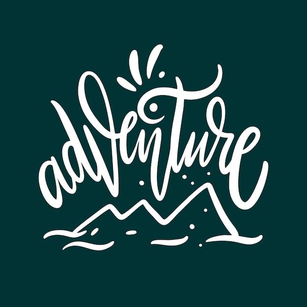 Abenteuer. hand gezeichnete vektorbeschriftung. auf grünem hintergrund isoliert. Premium Vektoren