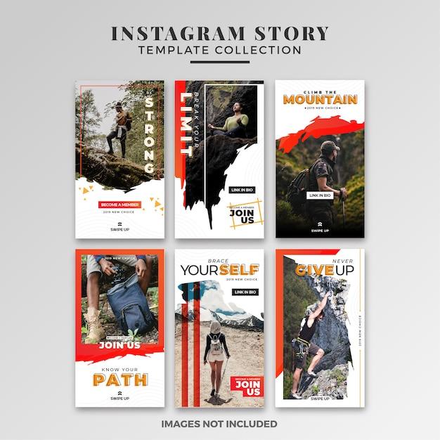 Abenteuer instagram story template-sammlung Premium Vektoren
