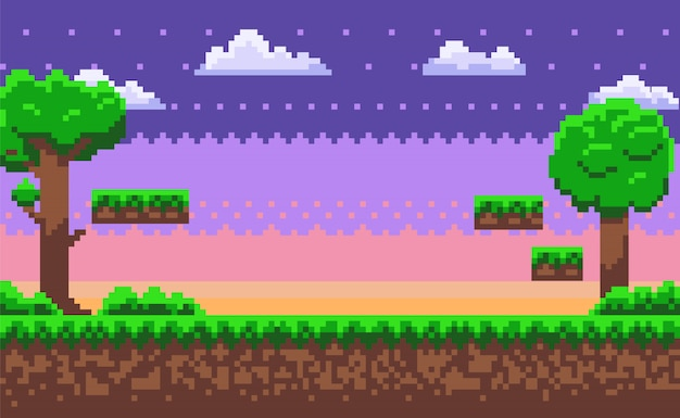 Abenteuer-karte, pixel-spiel, grüner natur-vektor Premium Vektoren