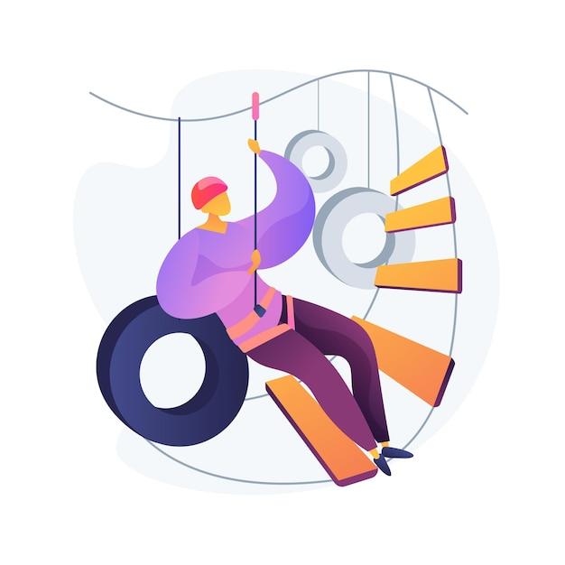 Abenteuer park. canopy tour. mann in gurt und helm für die sicherheit. hohe seilrutsche, seilklettern, kletterleiter. extreme sportliche aktivität. Kostenlosen Vektoren
