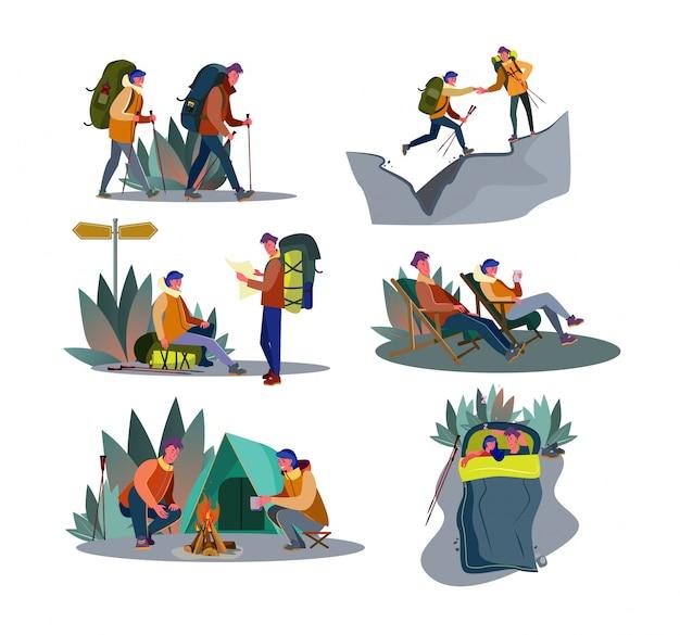 Abenteuer trekking set Kostenlosen Vektoren