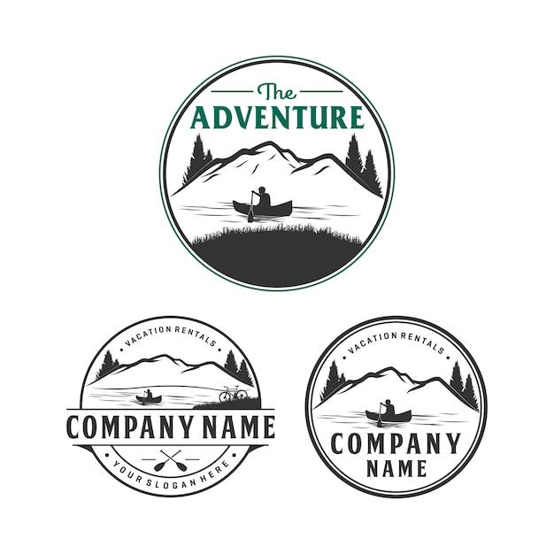 Abenteuer- und ferienmietlogodesign, logo im freien Premium Vektoren