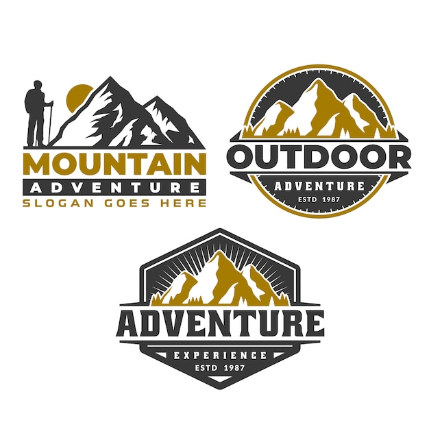 Abenteuerlogoemblem, gebirgslogoemblemschablone, kampierendes wandern Premium Vektoren