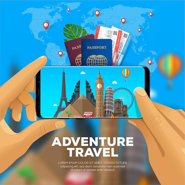 Abenteuerreisebanner. ansicht aus der ersten person. fotografieren von sehenswürdigkeiten mit dem smartphone. Premium Vektoren