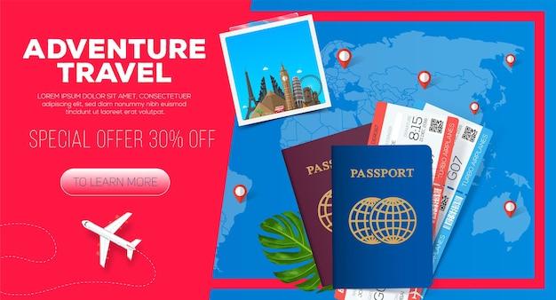 Abenteuerreisebanner. geschäftsreise. reisepass mit tickets. geschäftsreiseillustration. Premium Vektoren