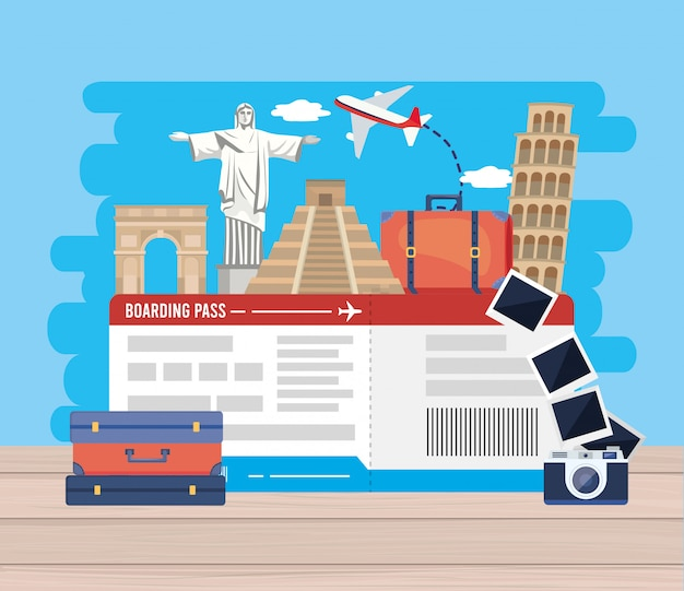 Abenteuerreiseziel mit ticket und flugzeug Premium Vektoren