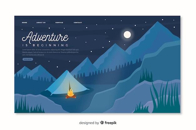 Abenteuerseite mit bergen Kostenlosen Vektoren