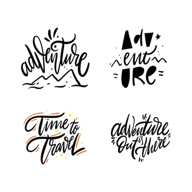 Abenteuerset-sammlung. hand gezeichnete vektorbeschriftung. auf weiß isoliert Premium Vektoren