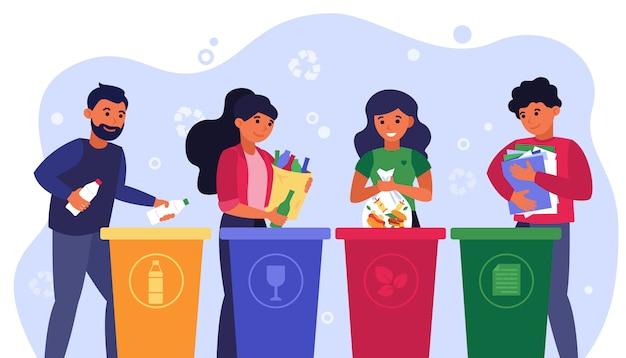 Abfall-sortierkonzept Kostenlosen Vektoren