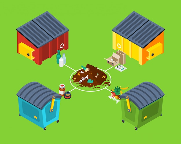 Abfallmanagement isometrisch Kostenlosen Vektoren
