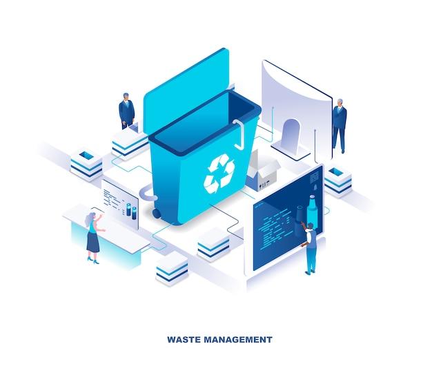 Abfallmanagement oder entsorgungsservice, technologieisometrisches konzept Premium Vektoren